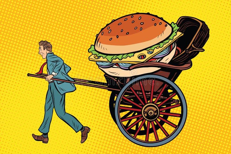 Παράδοση, δίτροχος χειράμαξα και κάρρο τροφίμων απεικόνιση αποθεμάτων