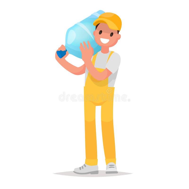 Παράδοση αγγελιαφόρων του νερού στα μεγάλα μπουκάλια Στοιχείο logo Company διανυσματική απεικόνιση