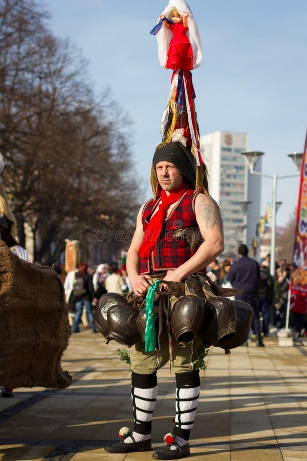 Παράδοση Βουλγαρία Surva μίμων με προσωπείο Kuker στοκ φωτογραφία