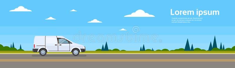 Παράδοση ναυτιλίας φορτίου Commercial Van Car On δρόμων διανυσματική απεικόνιση