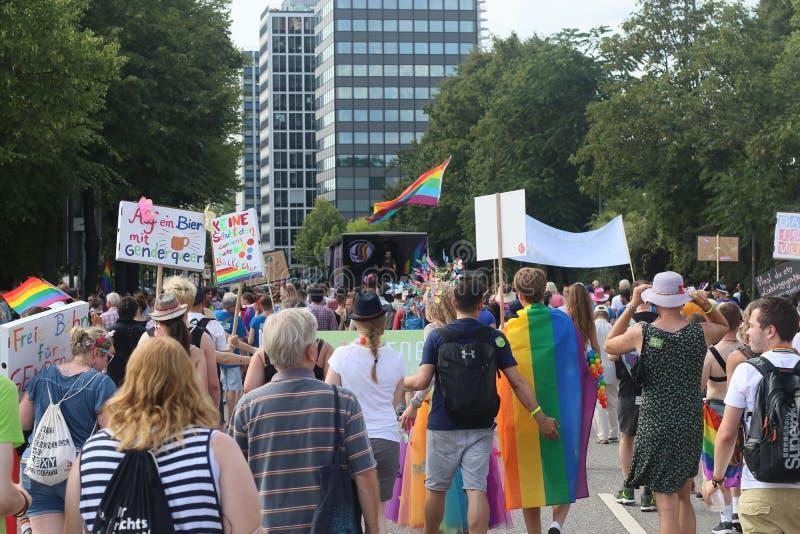 Παρέλαση 2018 επίδειξη του Αμβούργο, Γερμανία LGBTIQ της CSD στοκ φωτογραφία με δικαίωμα ελεύθερης χρήσης