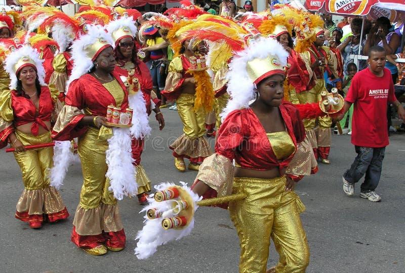 Παρέλαση των χορευτών στα λαμπρά κοστούμια καρναβαλιού 3 Φεβρουαρίου 2008 στοκ εικόνα
