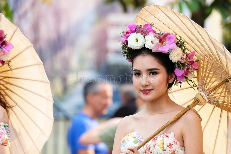παρέλαση φεστιβάλ λουλουδιών σε Chiang Mai, Ταϊλάνδη στοκ φωτογραφίες με δικαίωμα ελεύθερης χρήσης