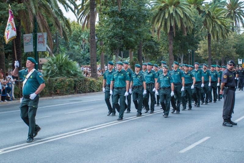 Παρέλαση Πολιτικής Φρουράς στη Μάλαγα, Ισπανία στοκ φωτογραφίες