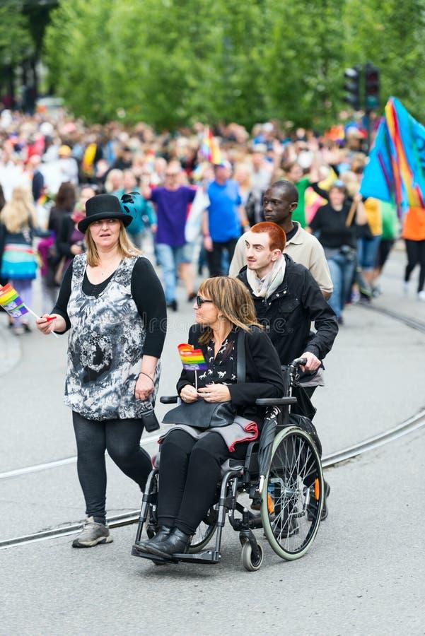 Παρέλαση Europride στην καρέκλα ροδών του Όσλο στοκ φωτογραφία με δικαίωμα ελεύθερης χρήσης