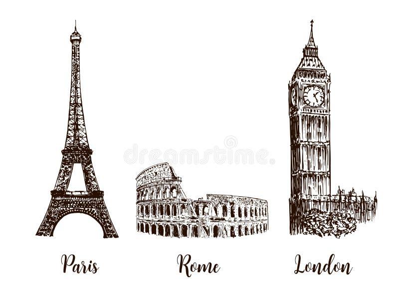 Παρίσι, Λονδίνο Ρώμη Σύνολο ευρωπαϊκών συμβόλων κεφαλαίων Πύργος του Άιφελ, Coliseum, Big Ben απεικόνιση αποθεμάτων