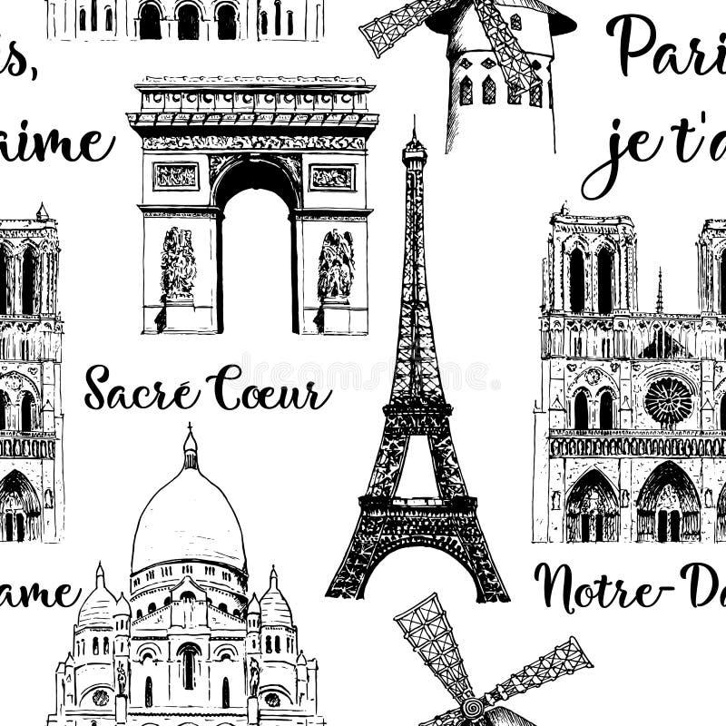 Παρίσι που επισκέπτεται το άνευ ραφής σύνολο σχεδίων Πύργος του Άιφελ, Arc de Triomphe, βασιλική Γαλλία Διανυσματικό συρμένο χέρι απεικόνιση αποθεμάτων