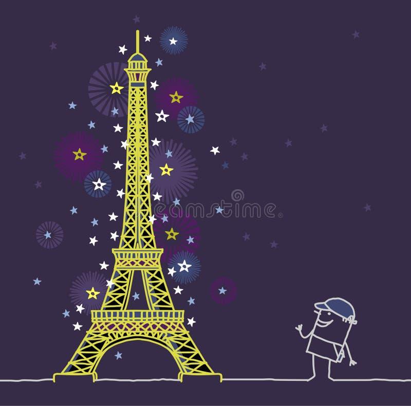 Παρίσι τή νύχτα διανυσματική απεικόνιση