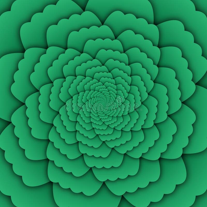 Παραίσθησης τέχνης αφηρημένο λουλουδιών mandala διακοσμητικό τετράγωνο υποβάθρου σχεδίων πράσινο ελεύθερη απεικόνιση δικαιώματος