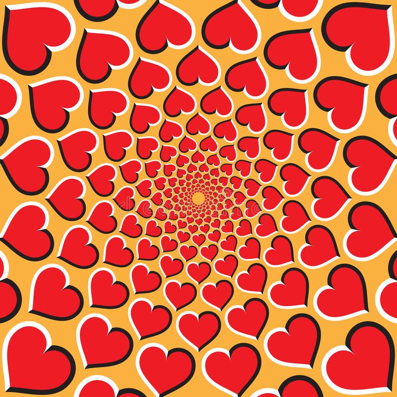 παραίσθηση ανασκόπησης ο&p Οι κόκκινες καρδιές κινούνται κυκλικά προς το κέντρο στο χρυσό υπόβαθρο ελεύθερη απεικόνιση δικαιώματος