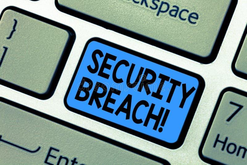 Παραβίαση της ασφαλείας κειμένων γραψίματος λέξης Επιχειρησιακή έννοια για την αναρμόδια πρόσβαση στις συσκευές εφαρμογών δικτύων στοκ φωτογραφία με δικαίωμα ελεύθερης χρήσης
