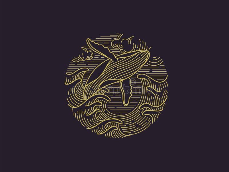 Παραβιάζοντας humpback λογότυπο φαλαινών απεικόνιση αποθεμάτων