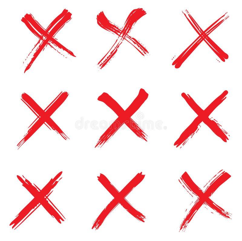 παραγμένο κόκκινο σημαδιών εικόνας υπολογιστών σταυρός ελεύθερη απεικόνιση δικαιώματος