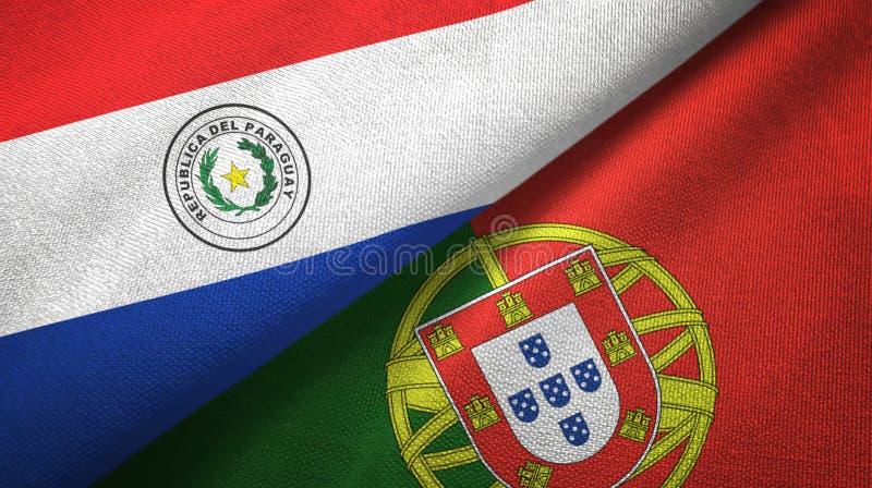 Παραγουάη και Πορτογαλία δύο υφαντικό ύφασμα σημαιών, σύσταση υφάσματος διανυσματική απεικόνιση