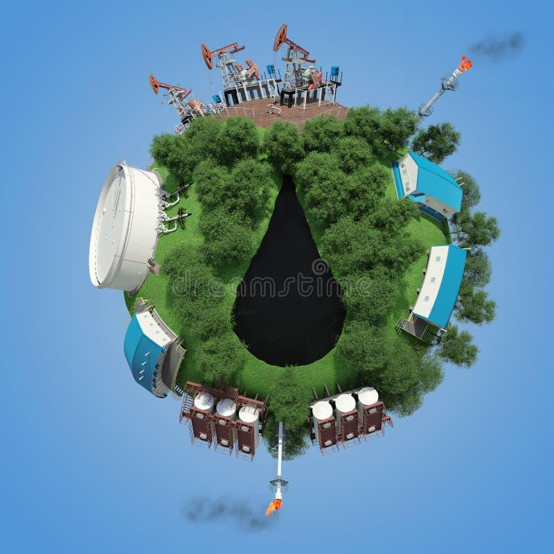 παραγωγή πλανητών πετρελαίου αντικειμένων μικρή διανυσματική απεικόνιση