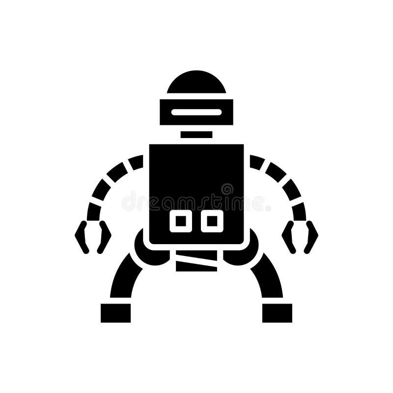 Παραγωγή της μαύρης έννοιας εικονιδίων androids Παραγωγή του επίπεδου διανυσματικού συμβόλου androids, σημάδι, απεικόνιση διανυσματική απεικόνιση