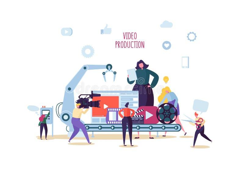 Παραγωγή του κινηματογράφου, τηλεοπτική έννοια παραγωγής Τηλεοπτικός χειριστής με Camcorder Videography, χαρακτήρες που γυρίζει τ ελεύθερη απεικόνιση δικαιώματος