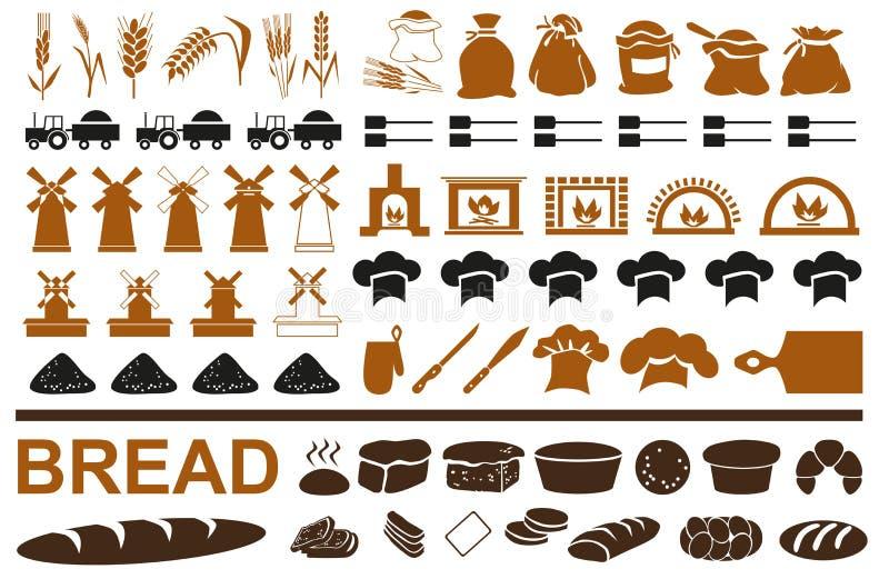 Παραγωγή των εικονιδίων ψωμιού στο λευκό διανυσματική απεικόνιση