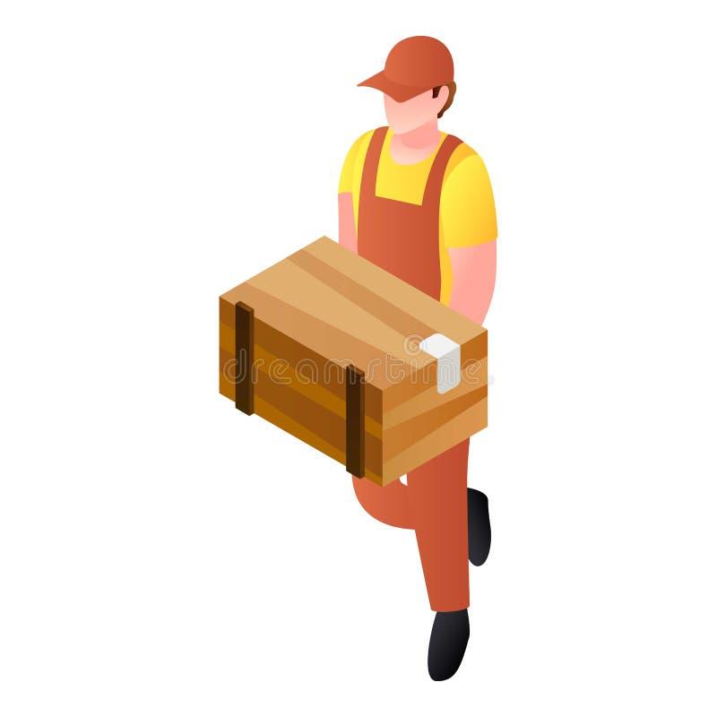 Παραδοθε'ν ταχυδρόμος ξύλινο εικονίδιο δεμάτων κιβωτίων, isometric ύφος ελεύθερη απεικόνιση δικαιώματος