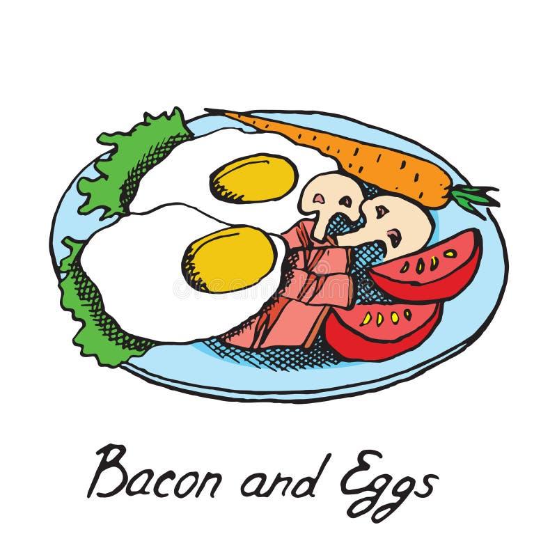 Παραδοσιακά αγγλικά πρόγευμα, μπέϊκον και αυγά στο πιάτο με slic διανυσματική απεικόνιση