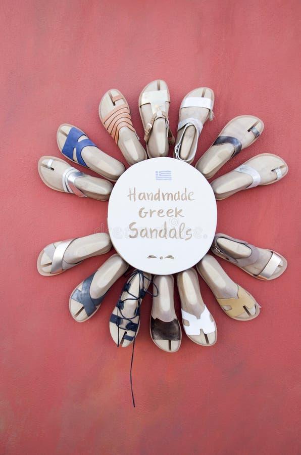 Παραδοσιακά ελληνικά χειροποίητα σανδάλια από Santorin στοκ φωτογραφία με δικαίωμα ελεύθερης χρήσης