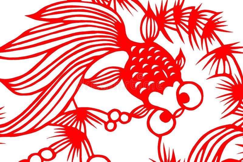 Παραδοσιακά κόκκινα ψάρια αποκοπών εγγράφου διανυσματική απεικόνιση
