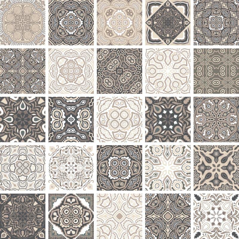 Παραδοσιακά περίκομψα πορτογαλικά διακοσμητικά azulejos κεραμιδιών αφηρημένη ανασκόπηση Διανυσματική συρμένη χέρι απεικόνιση, χαρ ελεύθερη απεικόνιση δικαιώματος