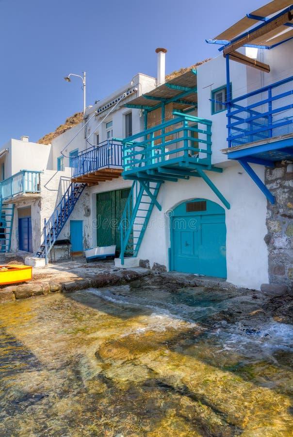 Παραδοσιακά σπίτια Klima στο χωριό, νησί Milos στοκ εικόνα