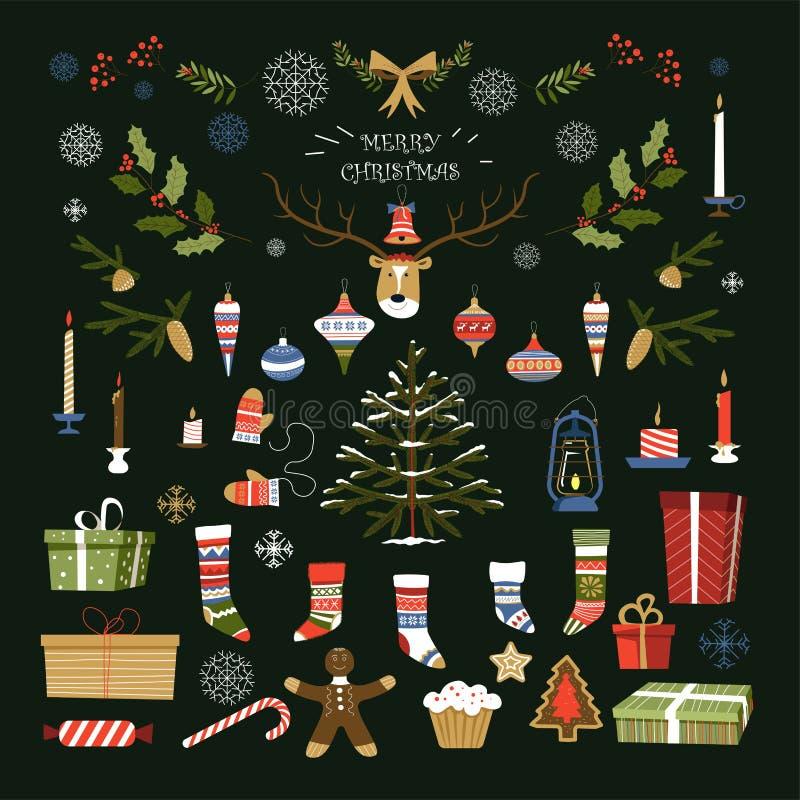 Παραδοσιακά σύμβολα Χαρούμενα Χριστούγεννας και στοιχεία των χειμερινών διακοπών ελεύθερη απεικόνιση δικαιώματος