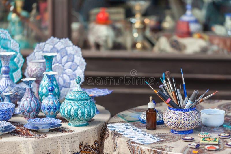 Παραδοσιακά τουρκικά χρωματισμένα χέρι πιάτα στοκ φωτογραφία με δικαίωμα ελεύθερης χρήσης