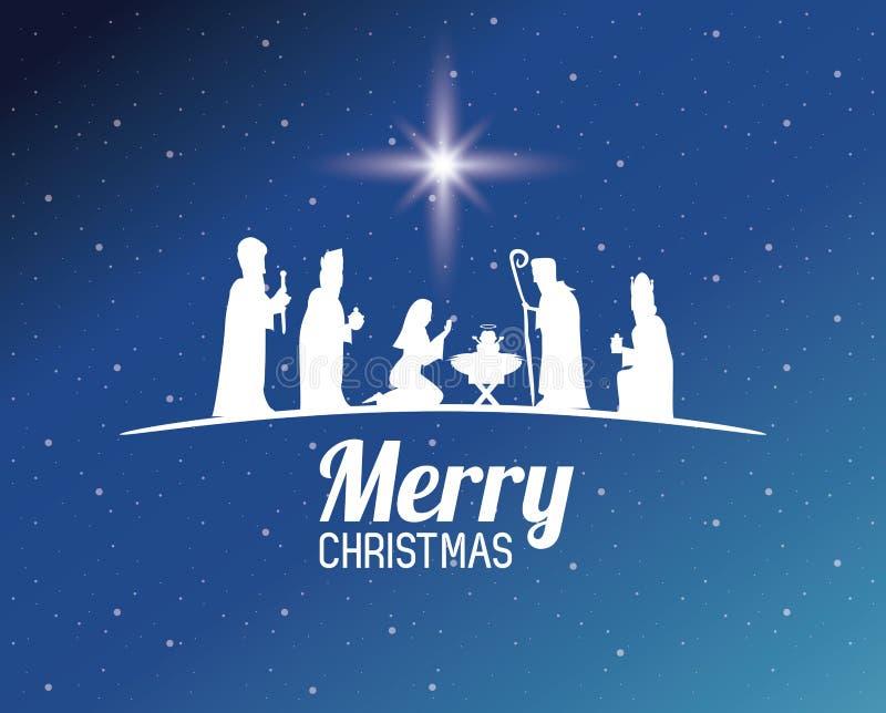 Παραδοσιακά χριστιανικά Χριστούγεννα διανυσματική απεικόνιση