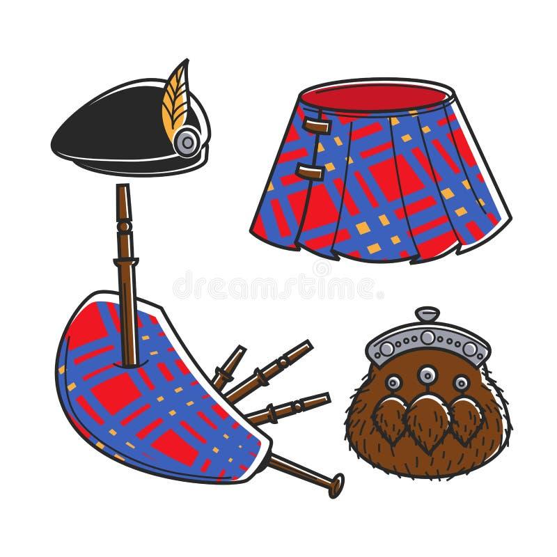 Παραδοσιακές απομονωμένες εξαρτήματα απεικονίσεις μουσικών Bagpipe Scot καθορισμένες διανυσματική απεικόνιση
