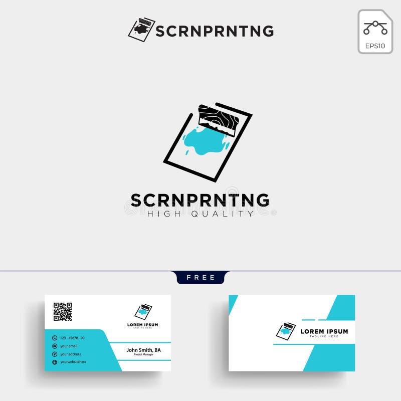 παραδοσιακές πρότυπο και επαγγελματική κάρτα λογότυπων εκτύπωσης οθόνης διανυσματική απεικόνιση