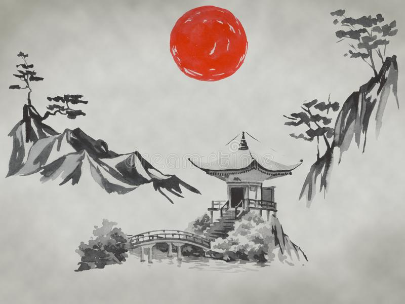 Παραδοσιακή ζωγραφική sumi-ε της Ιαπωνίας Βουνό του Φούτζι, sakura, ηλιοβασίλεμα Ήλιος της Ιαπωνίας Απεικόνιση ινδικού μελανιού Ι στοκ φωτογραφίες