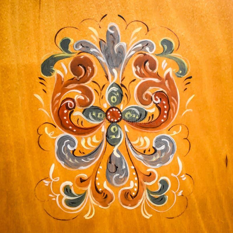 Παραδοσιακή νορβηγική ζωγραφική Folkart Rosemaling στοκ φωτογραφία με δικαίωμα ελεύθερης χρήσης