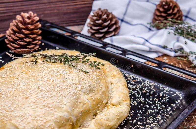 Παραδοσιακή πίτα kurnik με το σπόρο σουσαμιού στοκ φωτογραφία με δικαίωμα ελεύθερης χρήσης
