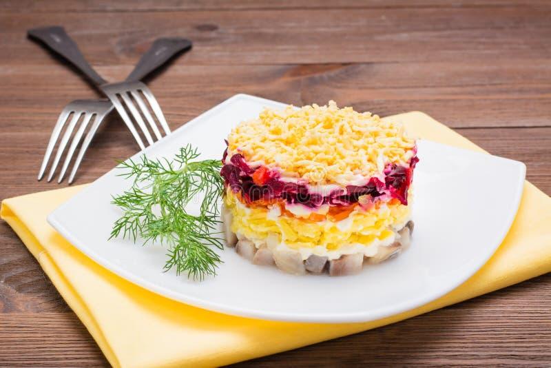Παραδοσιακή ρωσική σαλάτα - ρέγγες κάτω από ένα παλτό γουνών σε ένα πιάτο στοκ φωτογραφία με δικαίωμα ελεύθερης χρήσης