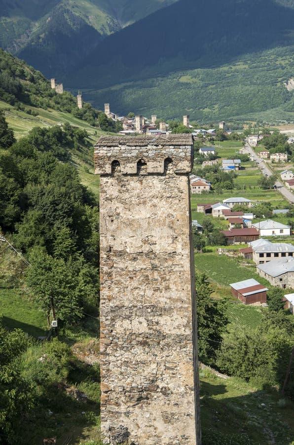Παραδοσιακοί αρχαίοι πύργοι Svan σε Ushguli στοκ φωτογραφίες με δικαίωμα ελεύθερης χρήσης