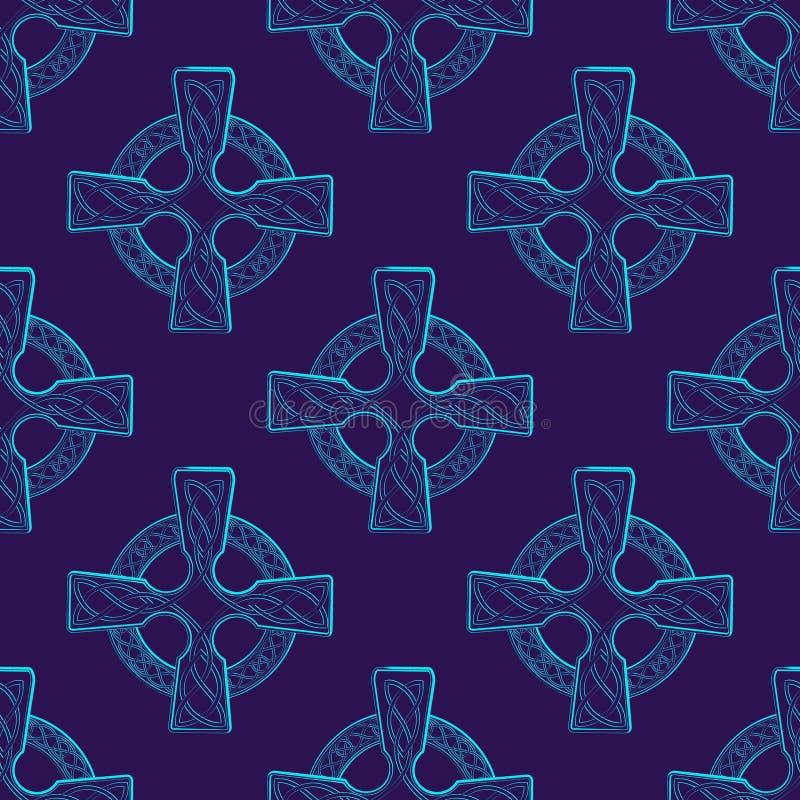 Παραδοσιακός κελτικός σταυρός σε κύκλο διακοσμημένος με ιρλανδικό υφασμένο στολίδι Ασυνήθιστος συνδυασμός χρώματος τυρκουάζ διανυσματική απεικόνιση