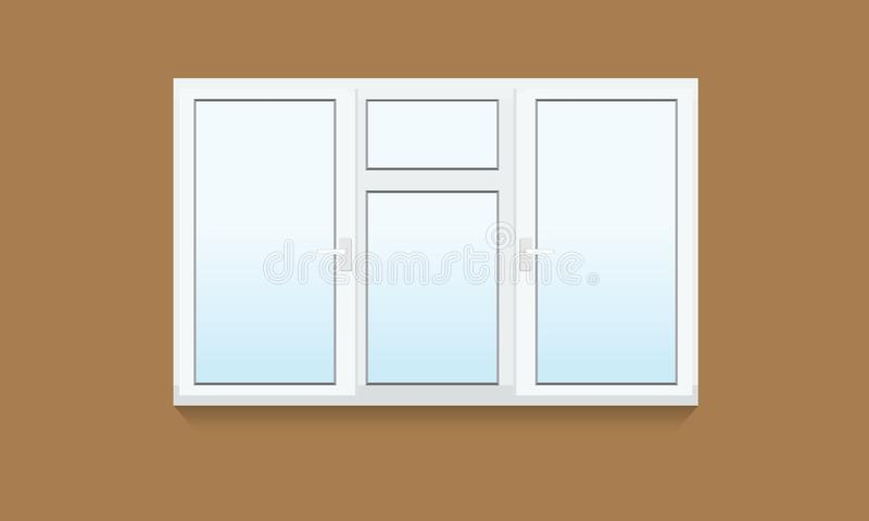 Παραδοσιακό άσπρο κλειστό παράθυρο Ρεαλιστικό στοιχείο παραθύρων της αρχιτεκτονικής και του εσωτερικού σχεδίου ελεύθερη απεικόνιση δικαιώματος
