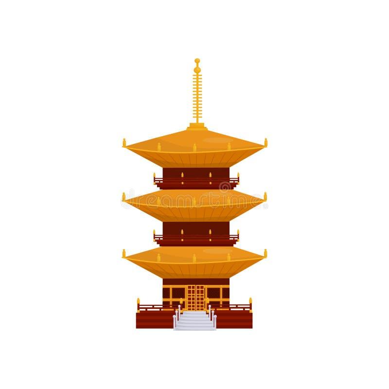 Παραδοσιακό ασιατικό κτήριο παγοδών, βουδιστική διανυσματική απεικόνιση ναών σε ένα άσπρο υπόβαθρο διανυσματική απεικόνιση