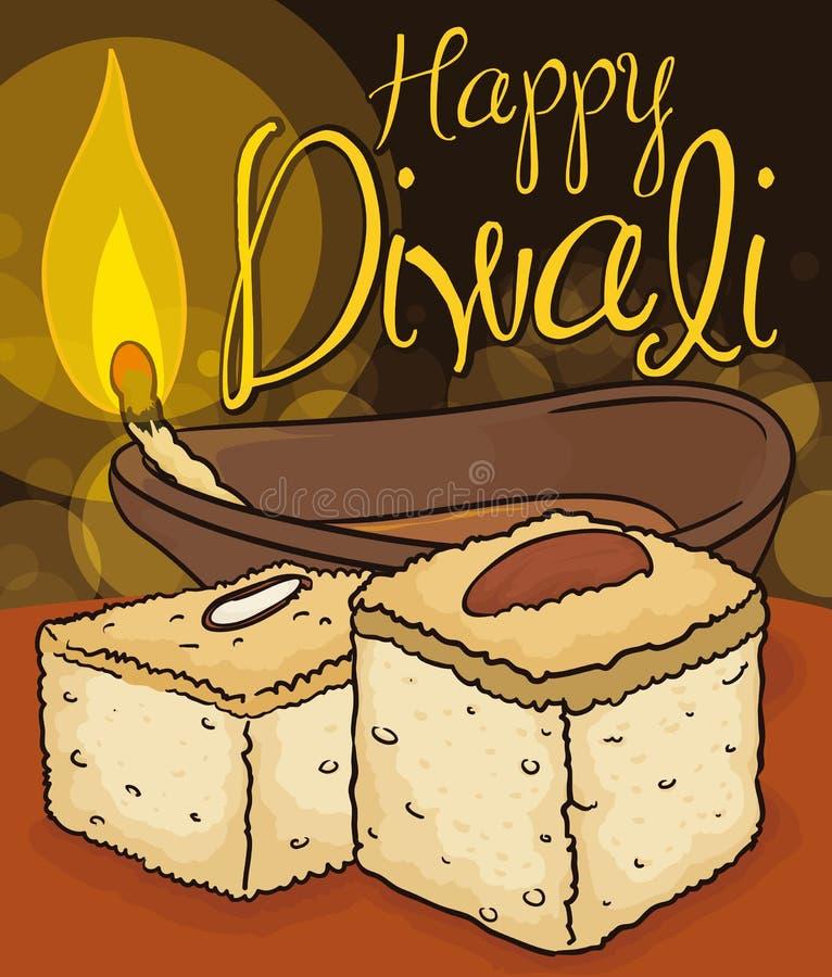Παραδοσιακό επιδόρπιο Barfi και αναμμένο Diya για να γιορτάσει Diwali, διανυσματική απεικόνιση διανυσματική απεικόνιση
