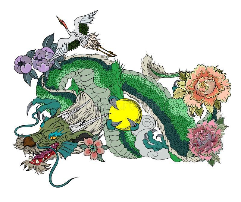 Παραδοσιακό ιαπωνικό σχέδιο δερματοστιξιών για το πίσω σώμα Ιαπωνικές γυναίκες στο κιμονό με τη γάτα και το δράκο της Συρμένο χέρ απεικόνιση αποθεμάτων