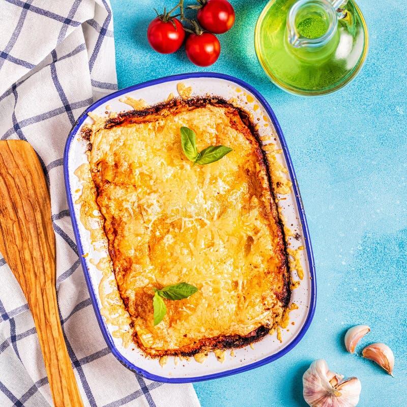 Παραδοσιακό ιταλικό lasagna με τα λαχανικά, κιμάς και che στοκ φωτογραφίες με δικαίωμα ελεύθερης χρήσης