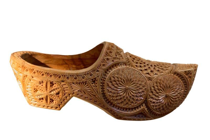 Παραδοσιακό ολλανδικό ξύλινο clog που απομονώνεται στο άσπρο υπόβαθρο στοκ εικόνες