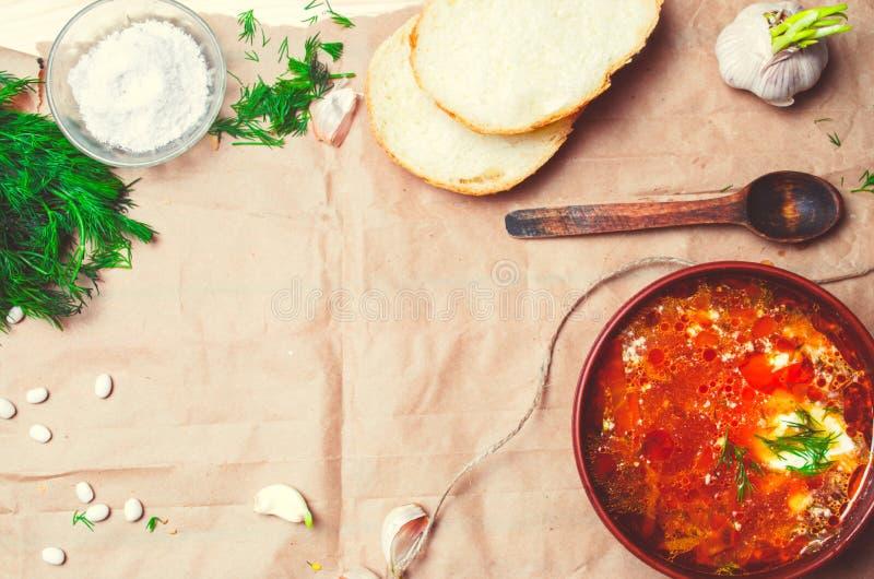 Παραδοσιακό ουκρανικό borsch, σούπα κόκκινων τεύτλων, borshch με το τεύτλο, στοκ εικόνες με δικαίωμα ελεύθερης χρήσης