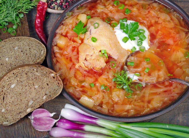 Παραδοσιακό ουκρανικό borscht σε ένα κύπελλο o r στοκ εικόνες