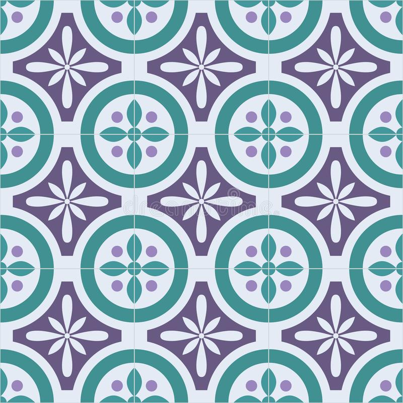 Παραδοσιακό περίκομψο πορτογαλικό ασιατικό άνευ ραφής σχέδιο azulejos κεραμιδιών επίσης corel σύρετε το διάνυσμα απεικόνισης απεικόνιση αποθεμάτων