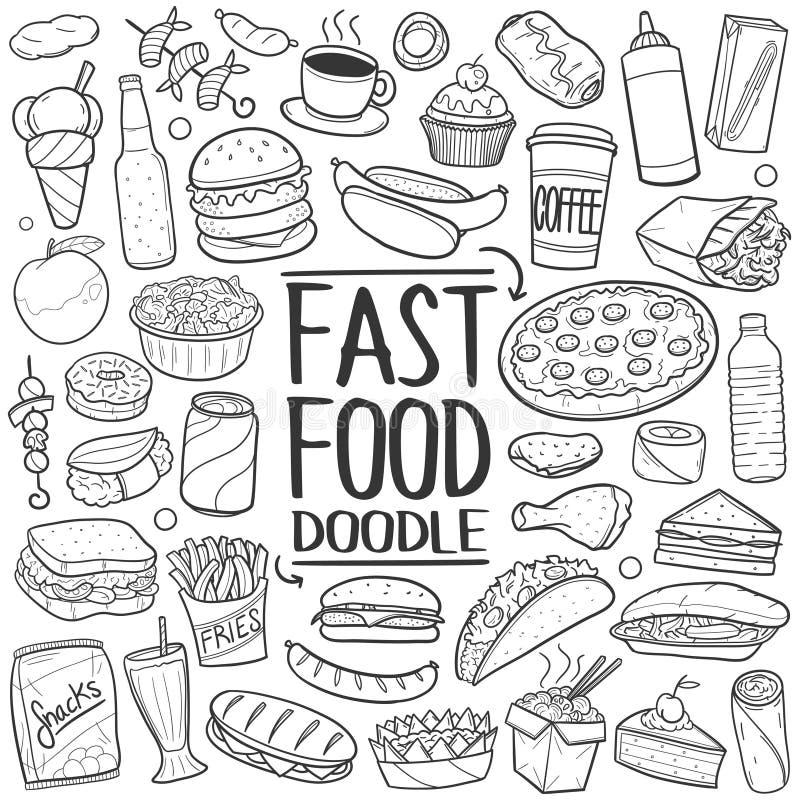 Παραδοσιακό χέρι σκίτσων εικονιδίων Doodle γρήγορου φαγητού - γίνοντα διάνυσμα σχεδίου διανυσματική απεικόνιση