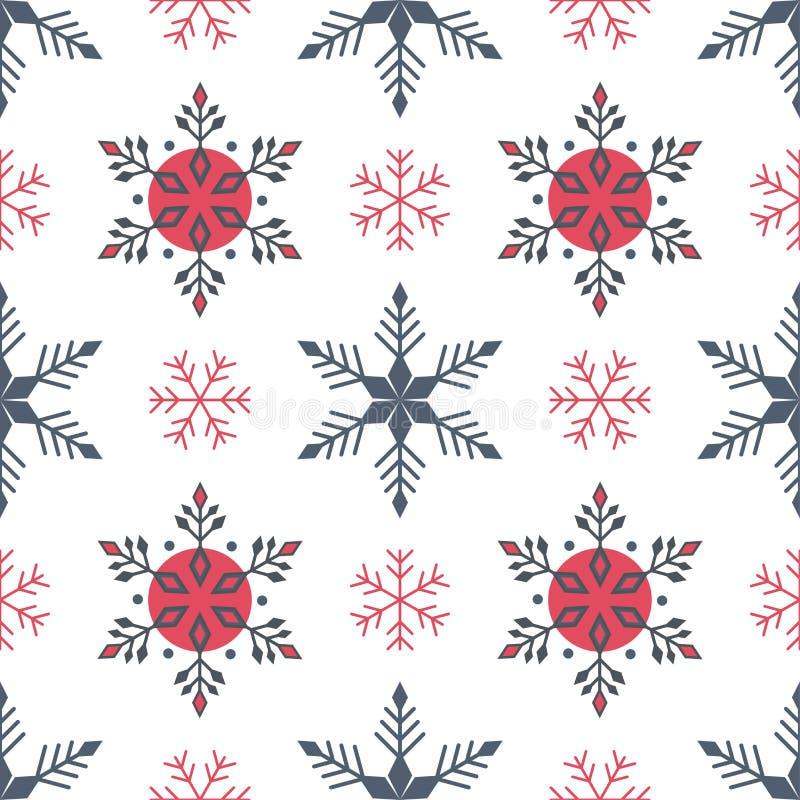 Παραδοσιακό χειμερινό άνευ ραφής σχέδιο κόκκινα και γκρίζα snowflakes στο άσπρο υπόβαθρο διανυσματική απεικόνιση